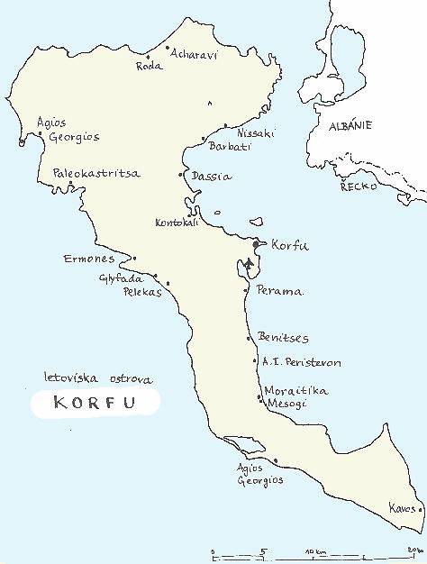 mapa letovisek ostrova Korfu