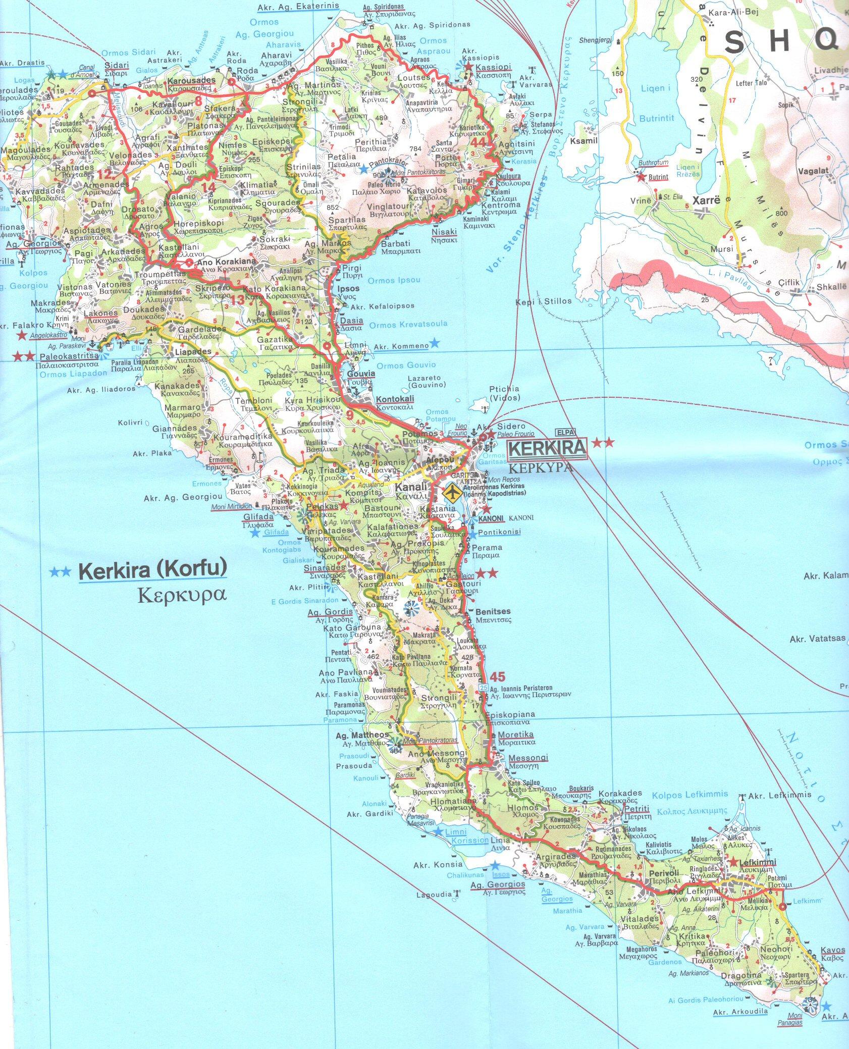 Korfu Mapy Ostrova